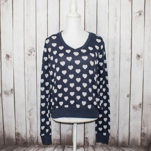 WILDFOX Women's Vneck Sweater Hearts all over